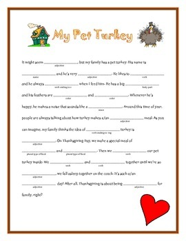 My Pet Turkey: A Thanksgiving Madlib