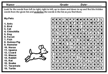My Pets, Word Search Worksheet, Kindergarten and Elementary Vocabulary Sub Plan