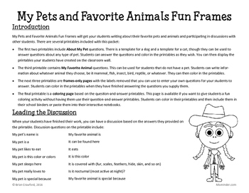 My Pets and Favorite Animals Fun Frames Writing Activity