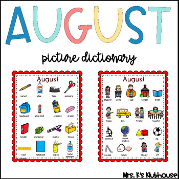 August Words: Picture Dictionary