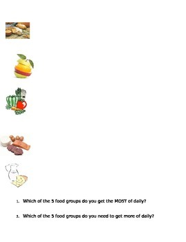 My Plate Food Group Graphic Organizer