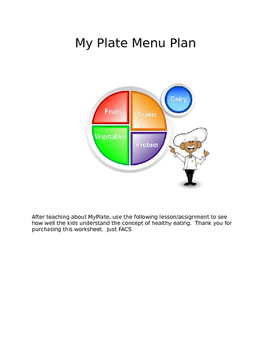 My Plate Menu Plan