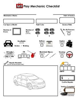My Play Mechanic Checklist - Auto Repair (Imaginary/Dramatic Play)