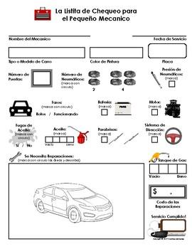 My Play Mechanic Checklist Auto Repair Imaginary Dramatic Play