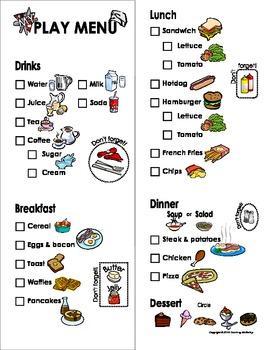 My Play Menu - Restaurant/Cafe/Waitress/Waiter