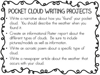 My Pocket Cloud Project ~ Creative Activity to use with a Weather Unit!