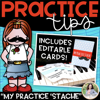 My Practice Stache: Piano Practice Cards, Editable Cards, & Storage Box Template