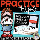 "Piano Practice Tips: ""My Practice 'Stache"" Editable Cards & Storage Box Template"