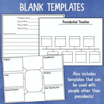 U.S. Presidents Report Writing Graphic Organizers & Templates
