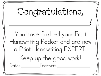 My Print Handwriting Packet