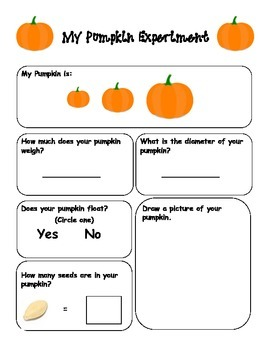 My Pumpkin Experiment Sheet