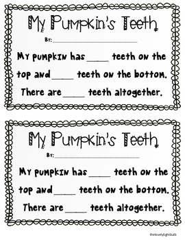My Pumpkin's Teeth - Art & Math project printable