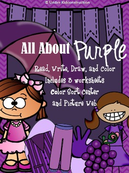 Color Books; Purple;3 Worksheets; Cut/Paste Activity; Color Sort Center