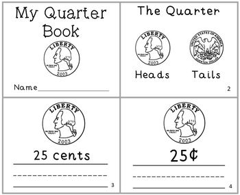 My Quarter Coin Mini-Book Money Reader