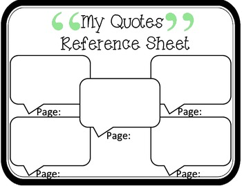 My Quotes Reference Sheet: Common Core Aligned