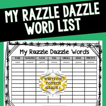 My Razzle Dazzle Word List