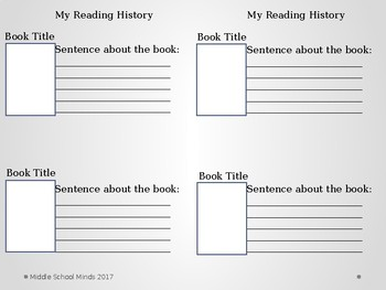 My Reading History - Reader's Notebook Page