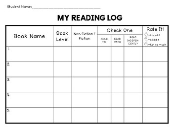 My Reading Log for Kindergarten and First Grade