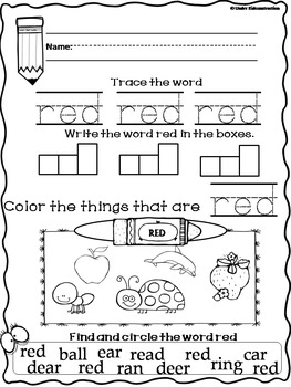 Color Books;Red; Worksheets, Cut/Paste Activity, and Color Sorting Center