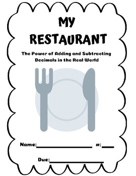 My Restaurant Project Based Learning   **WITH RUBRIC**