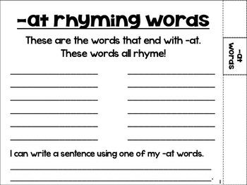 My Rhyming Flip Book {-at, -ig, -og, -et}