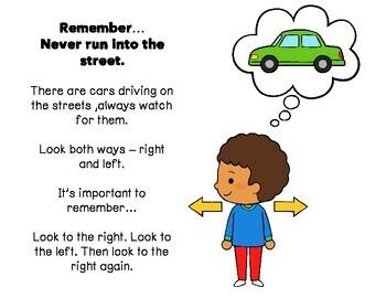 My Road Safety Awareness Booklet (social story / activities / kindergarten)