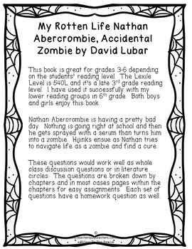 My Rotten Life Nathan Abercrombie, Accidental Zombie Discussion Questions