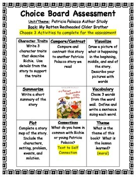 My Rotten Red-Headed Older Brother Choice Board Assessment- Patricia Polacco