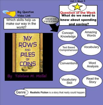My Rows and Piles of Coins SmartBoard Menu