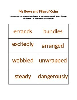 My Rows and Piles of Coins Vocabulary Flash Cards