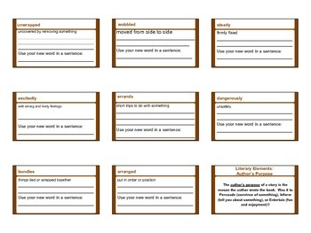 My Rows and Piles of Coins Vocabulary Handout