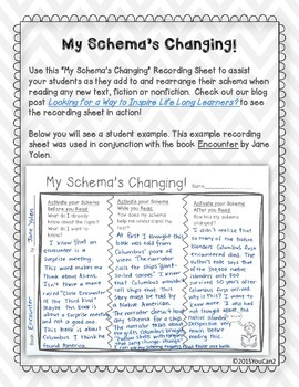 My Schema's Changing! Student Recording Sheet