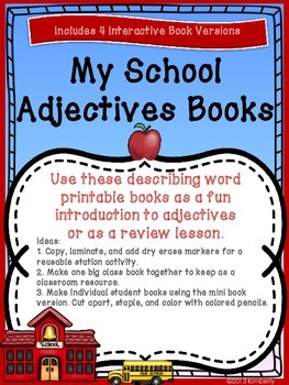 """""""My School Adjectives"""" Booklets (Introduction or Review Activity)"""
