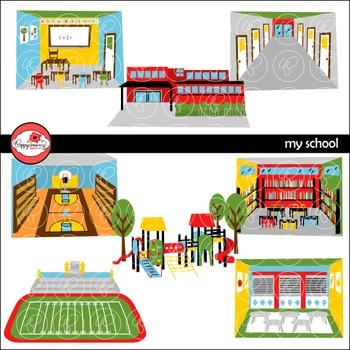 My School Clipart by Poppydreamz