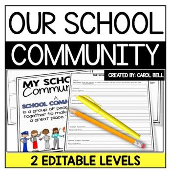 Editable My  School Community Who's Who in my School?