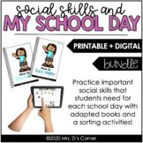 My School Day Social Skills Bundle | Adapted Books + Sorti