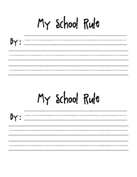 My School Rule-A Writing Template
