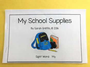 Sight Word Reader - My School Supplies - Color/BW