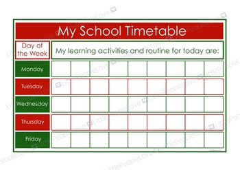 My School Timetable - Green/Red