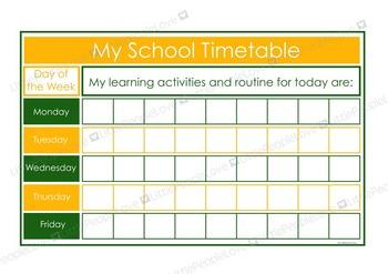 My School Timetable - Green/Yellow
