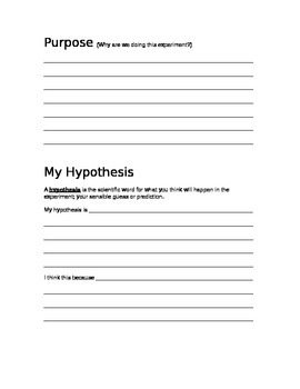 My Science Experiment Booklet
