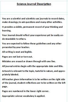 My Science Journal Guidelines - Editable addition