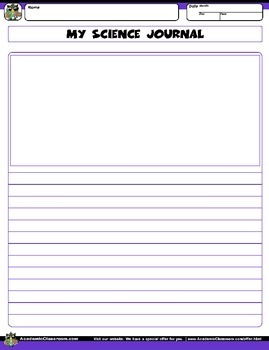 My Science Journal, Record Observations, Draw & Labels Specimens, Charting Grid.