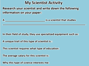 My Scientist Activity