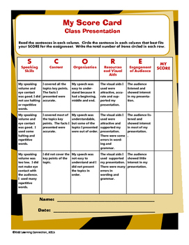 Rubric - Class Presentation My Score Card