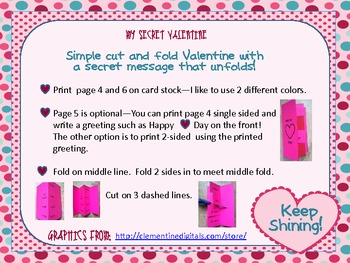 My Secret Valentine ~ Fun to Give Students or Friends