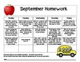 My September Homework Calendar
