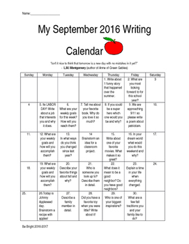 My September 2016-2017 Writing Calendar
