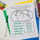 Continents and Oceans Geography Research Book, Study Cards, & Quizzes