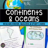 Continents and Oceans Geography Research, Study Cards, Quizzes | Print & Easel